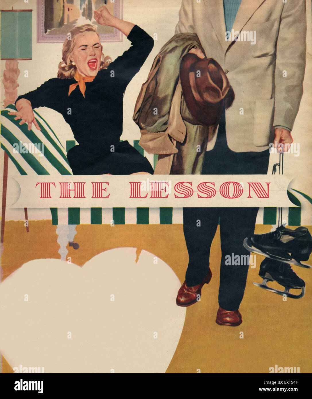 1950s UK The Lesson Magazine Plate - Stock Image