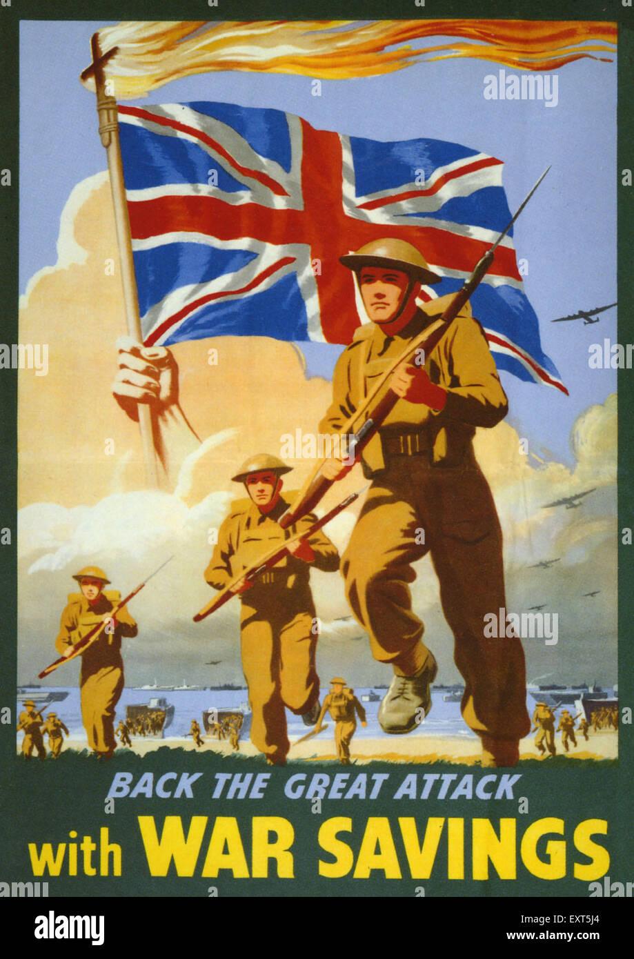 1940s UK War Savings Poster - Stock Image