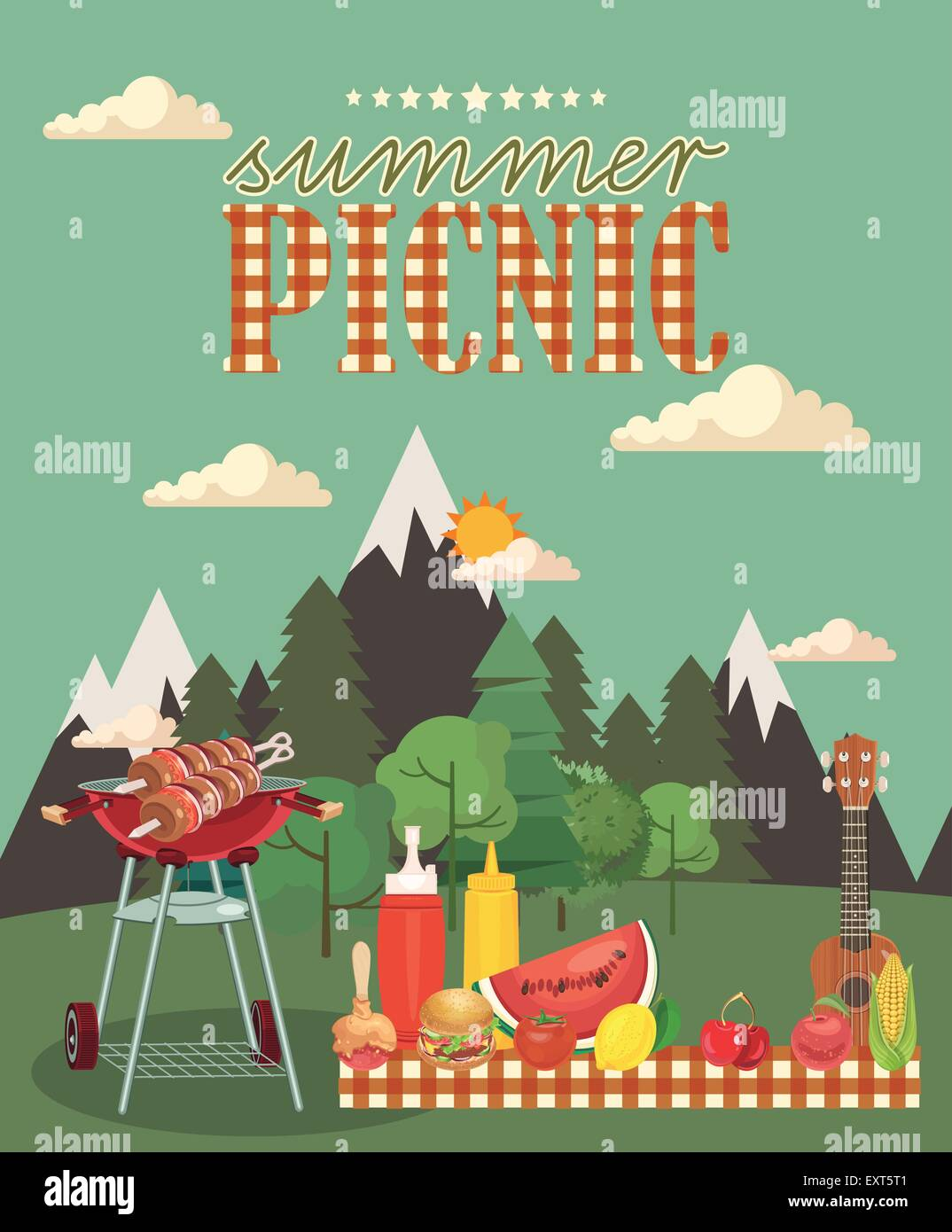 Flat barbecue object picnic items design of invitation card in barbecue object picnic items design of invitation card in vintage style creative banner with food and nature stopboris Choice Image