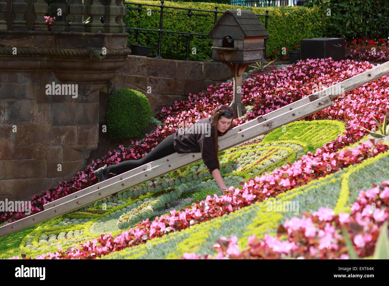 Edinburgh UK. 16 July. Famous Floral Clock, which this year celebrates Edinburgh's ten years as a UNESCO City - Stock Image