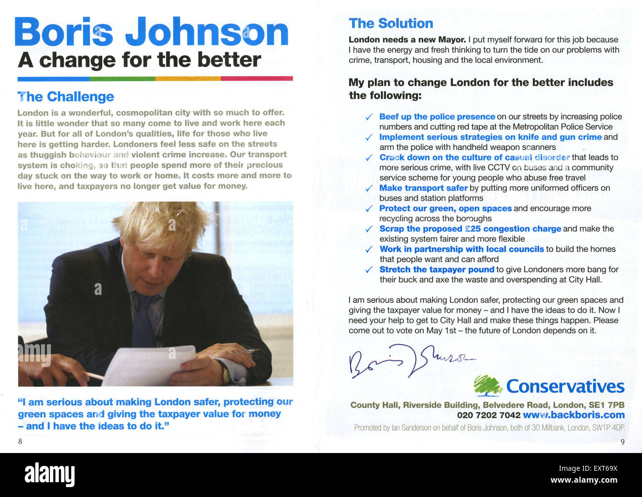 2000s UK The Conservative Party Leaflet/  Flyer - Stock Image