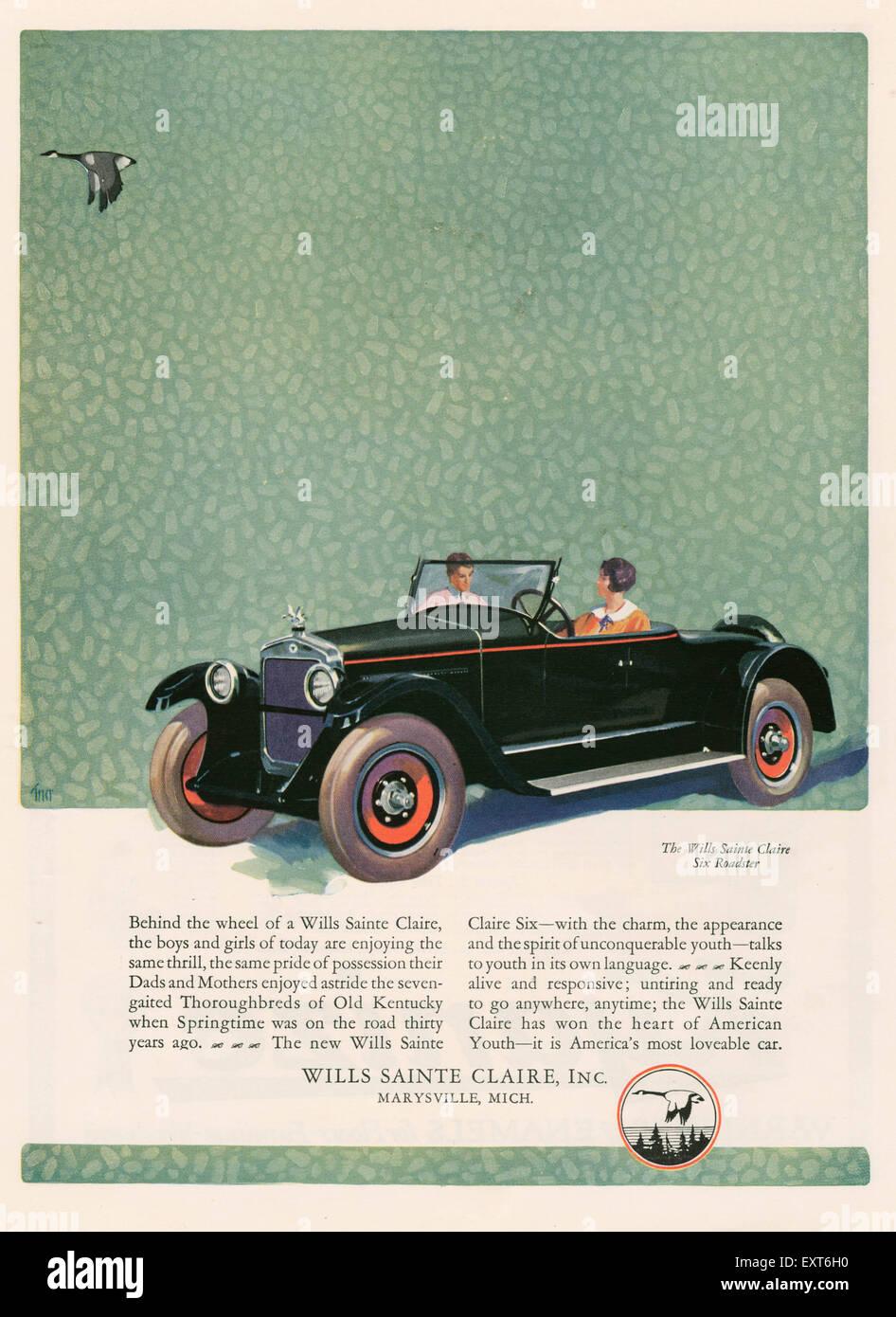 1920s USA Wills Sainte Claire Magazine Advert - Stock Image