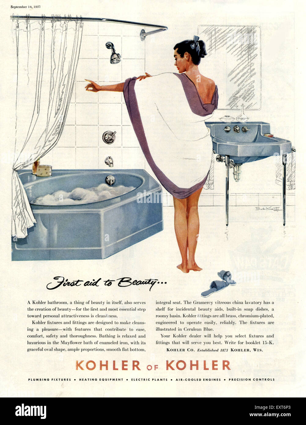 1950s USA Kohler Magazine Advert Stock Photo: 85354699 - Alamy