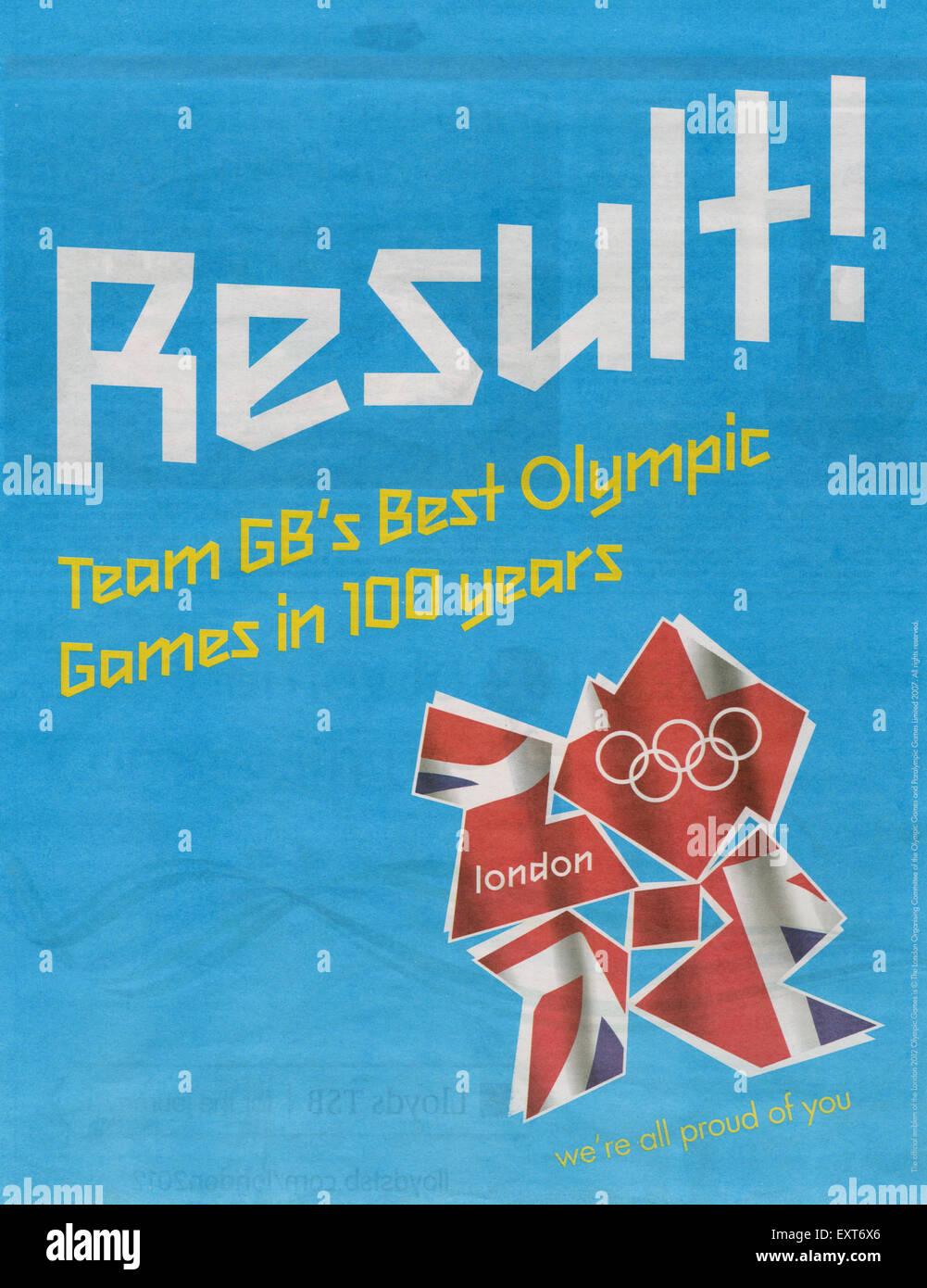 2000s UK 2012 Olympic Bid Newspaper Advert - Stock Image