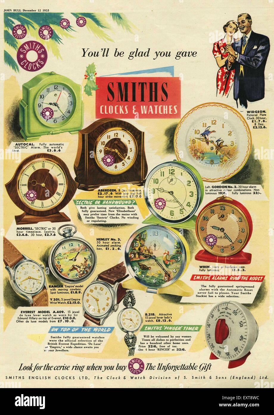 1950s UK Smiths Magazine Advert - Stock Image