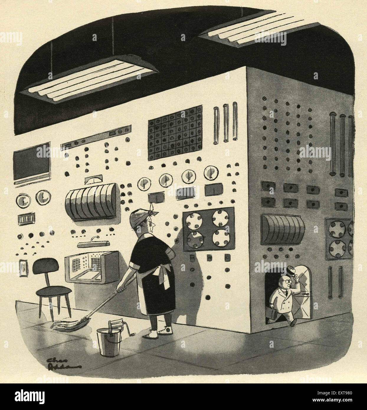 1950s UK Technology Comic/ Cartoon Plate - Stock Image