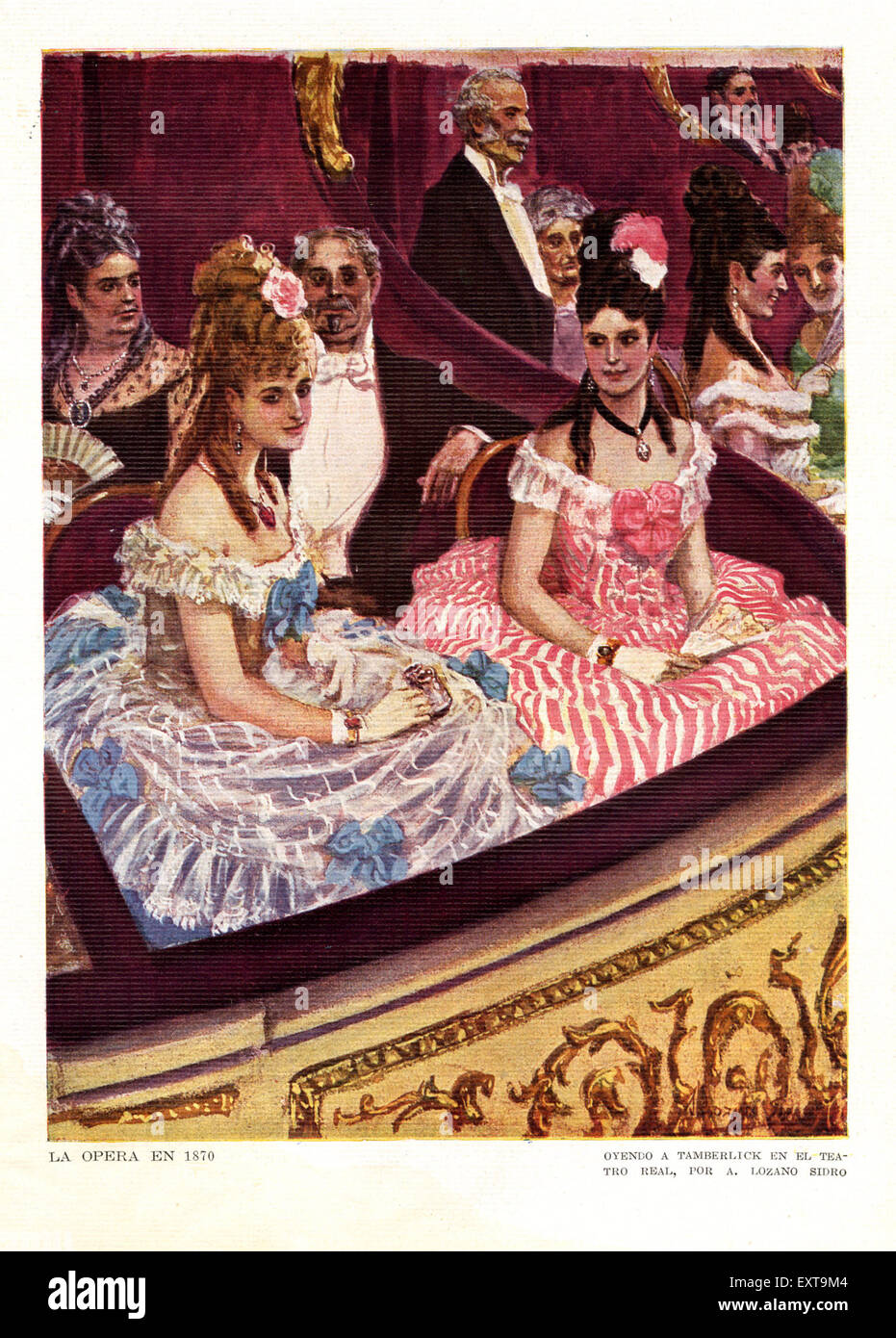 1920s spain Opera Box Magazine Plate - Stock Image