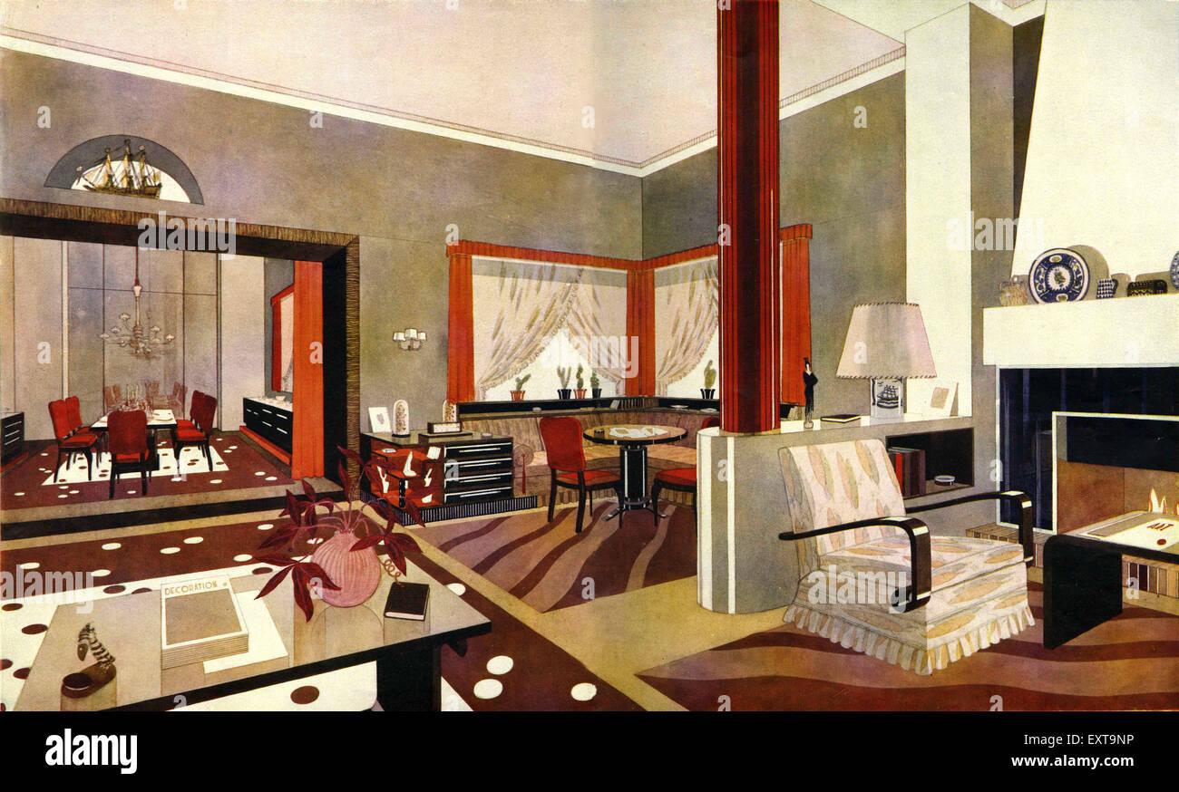 1930s france art deco interior magazine advert detail for Art deco interior design 1930