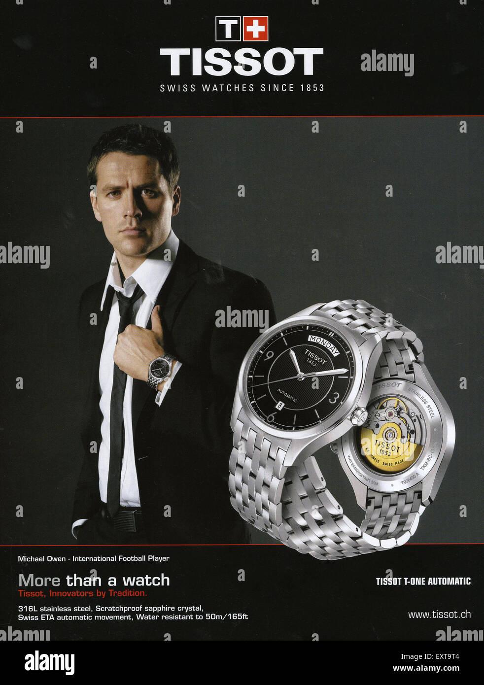 2000s uk tissot magazine advert stock photo 85357108 alamy for Celebrity tissot watch
