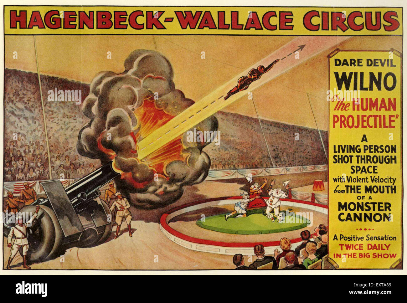 1930s USA Human Cannonballs Poster - Stock Image
