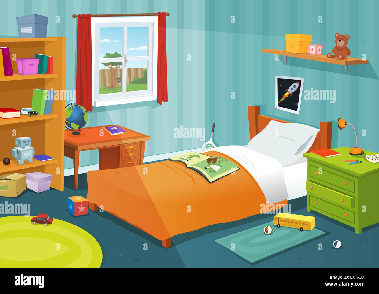 Illustration Of A Cartoon Children Bedroom With Boy Or