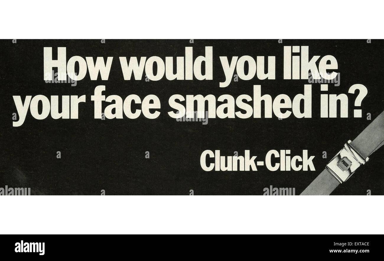 1980s UK Seatbelts Campaigns Magazine Advert - Stock Image