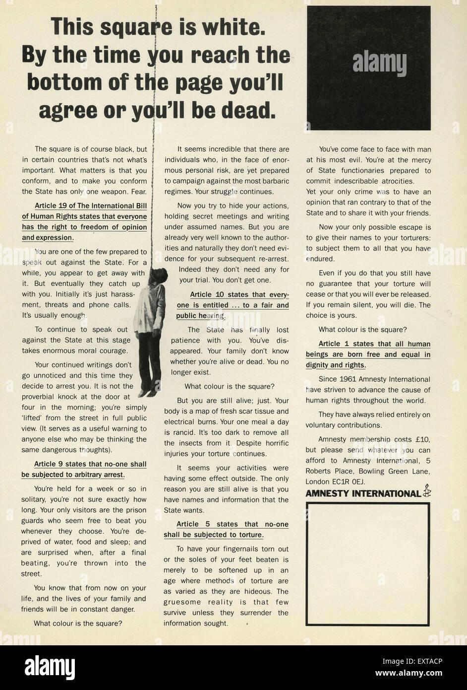 1980s UK Amnesty International Magazine Advert Stock Photo