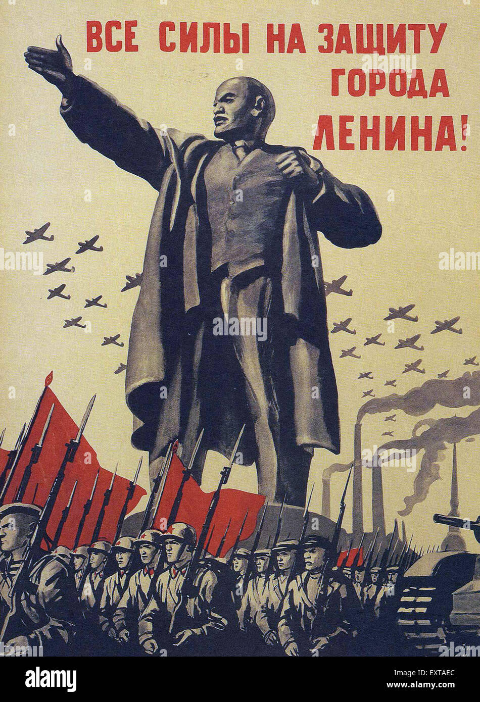 1940s Russia Russian Propaganda Poster Stock Photo