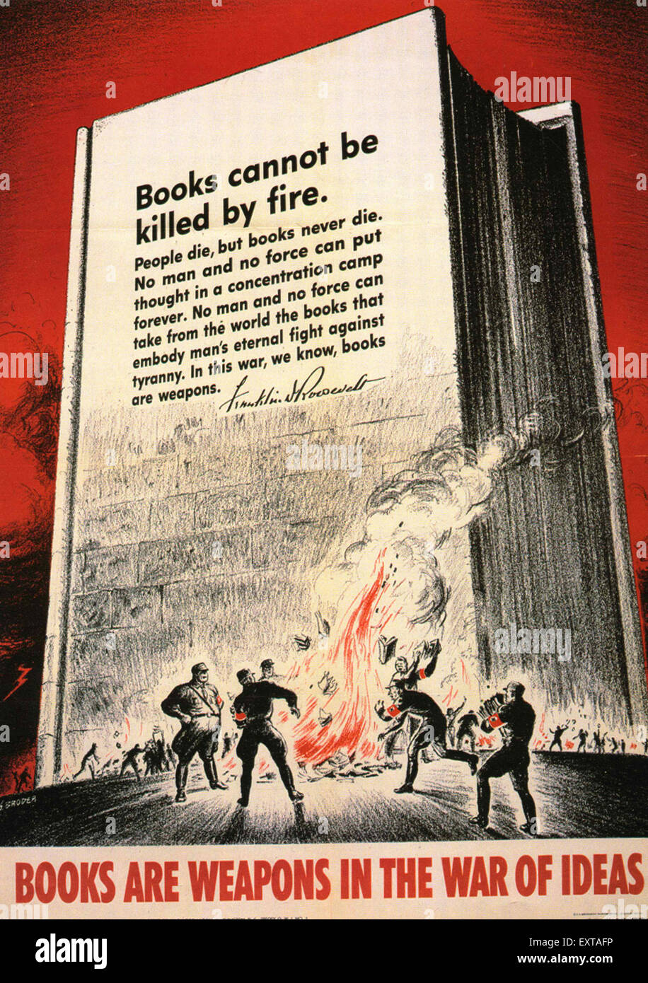 1940s USA Books are Weapons In The War of Ideas Poster - Stock Image