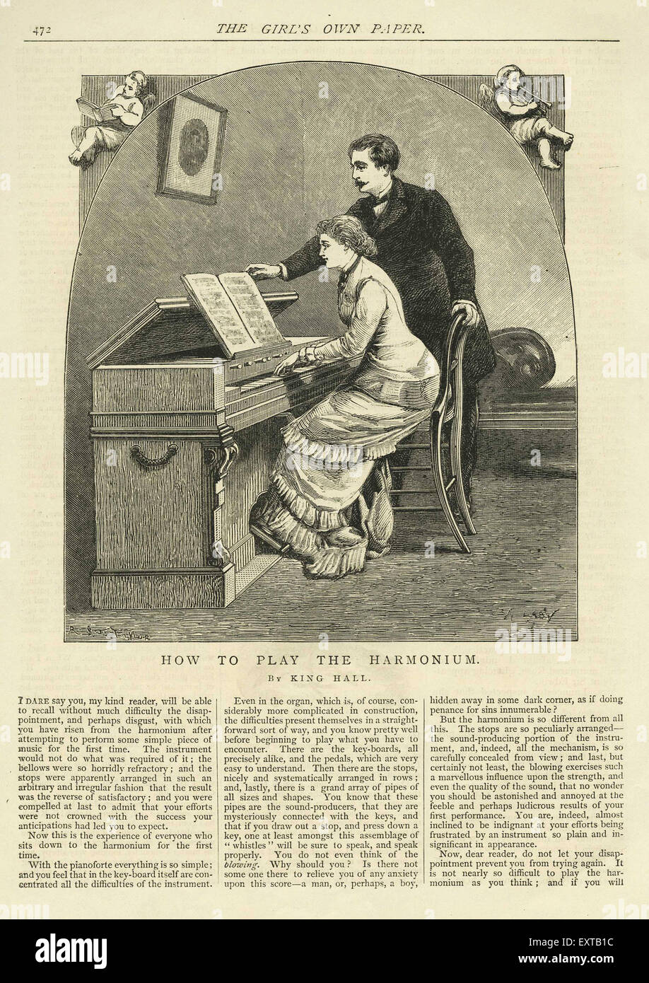 1890s UK Harmonium Lesson - Stock Image