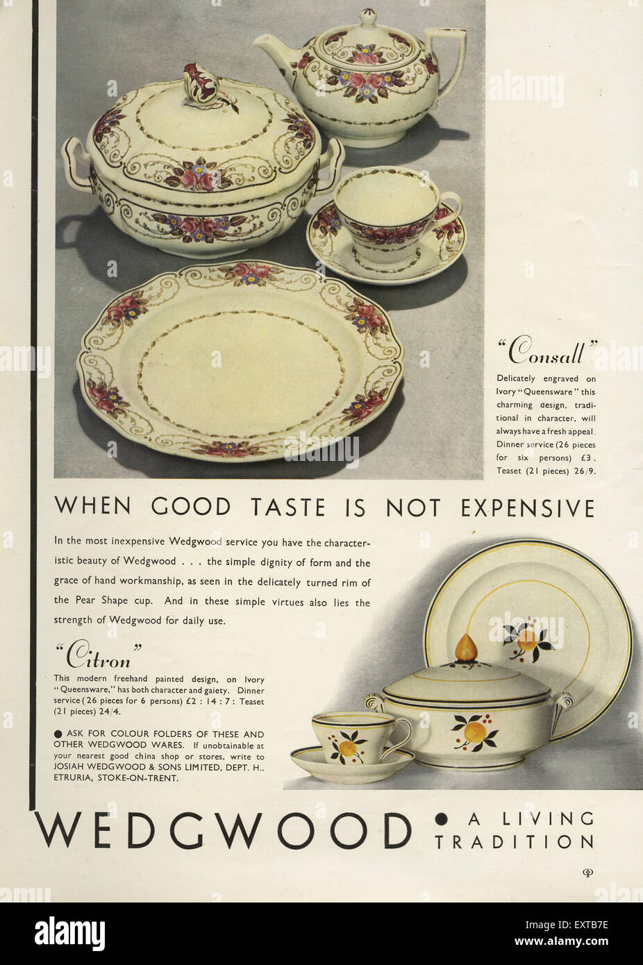 1930s UK Wedgwood Magazine Advert : wedgwood tableware uk - pezcame.com