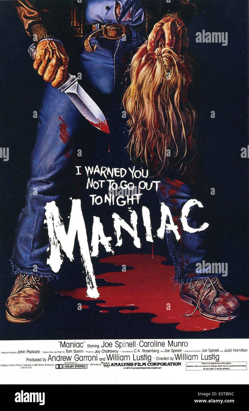 1980s USA Maniac Film Poster - Stock Image