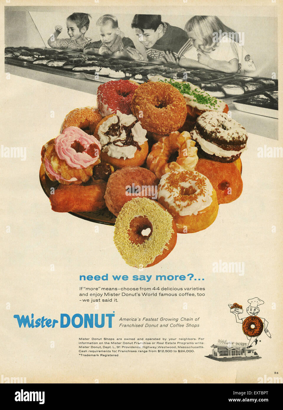 1960s USA Mister Donuts Magazine Advert - Stock Image