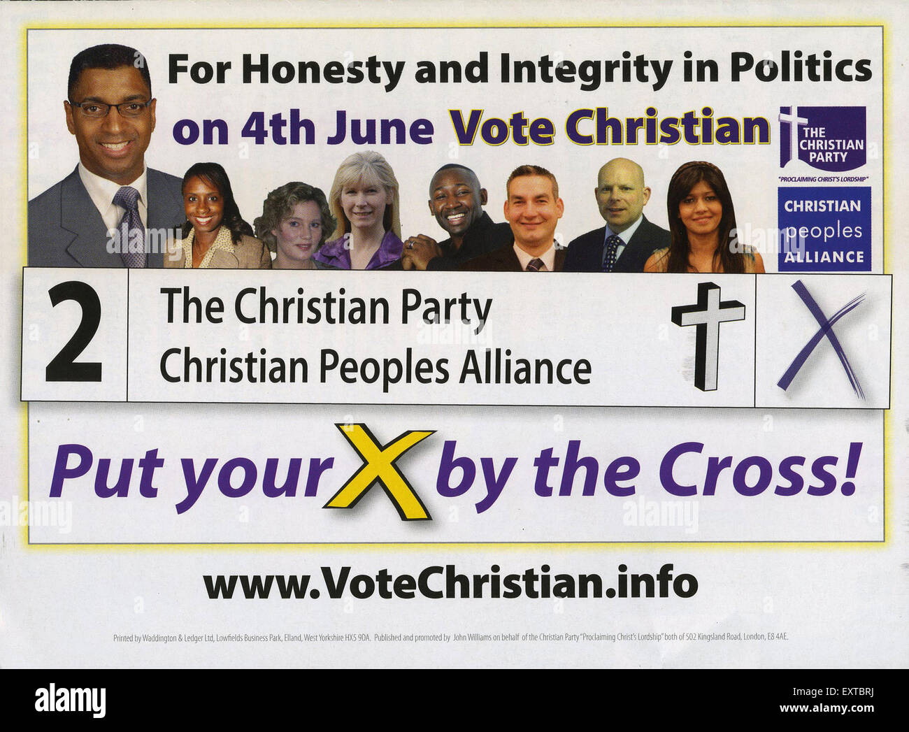 2000s UK The Christian Party Leaflet/  Flyer - Stock Image