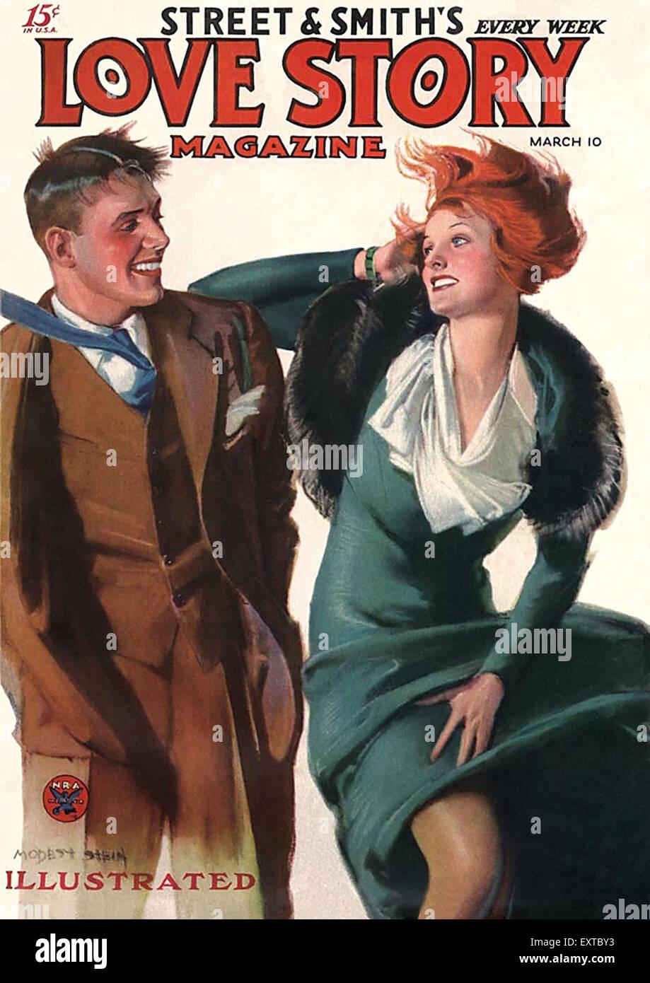1930s USA Love Story Magazine Cover - Stock Image