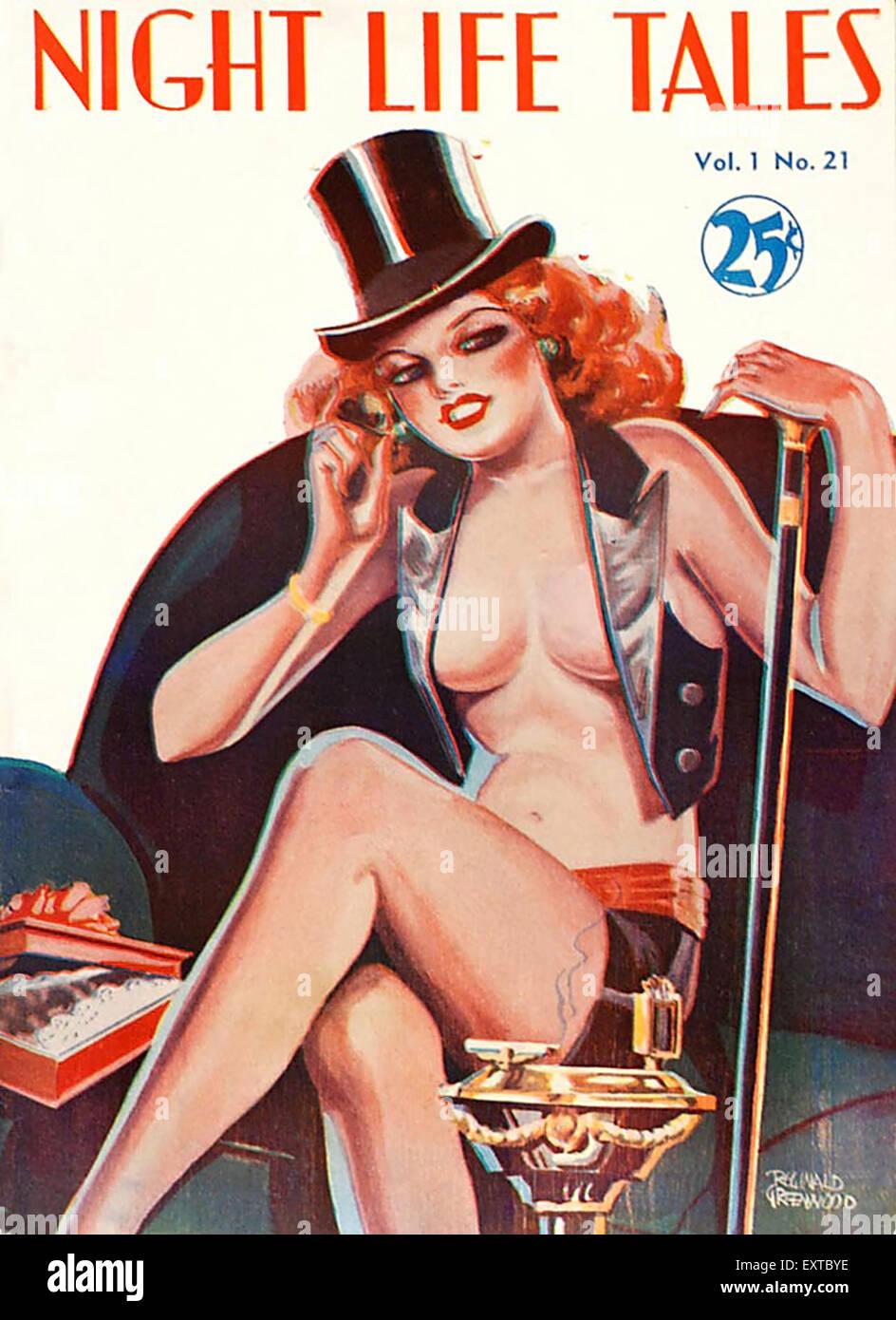 1930s USA Night Life Tales Magazine Cover Stock Photo