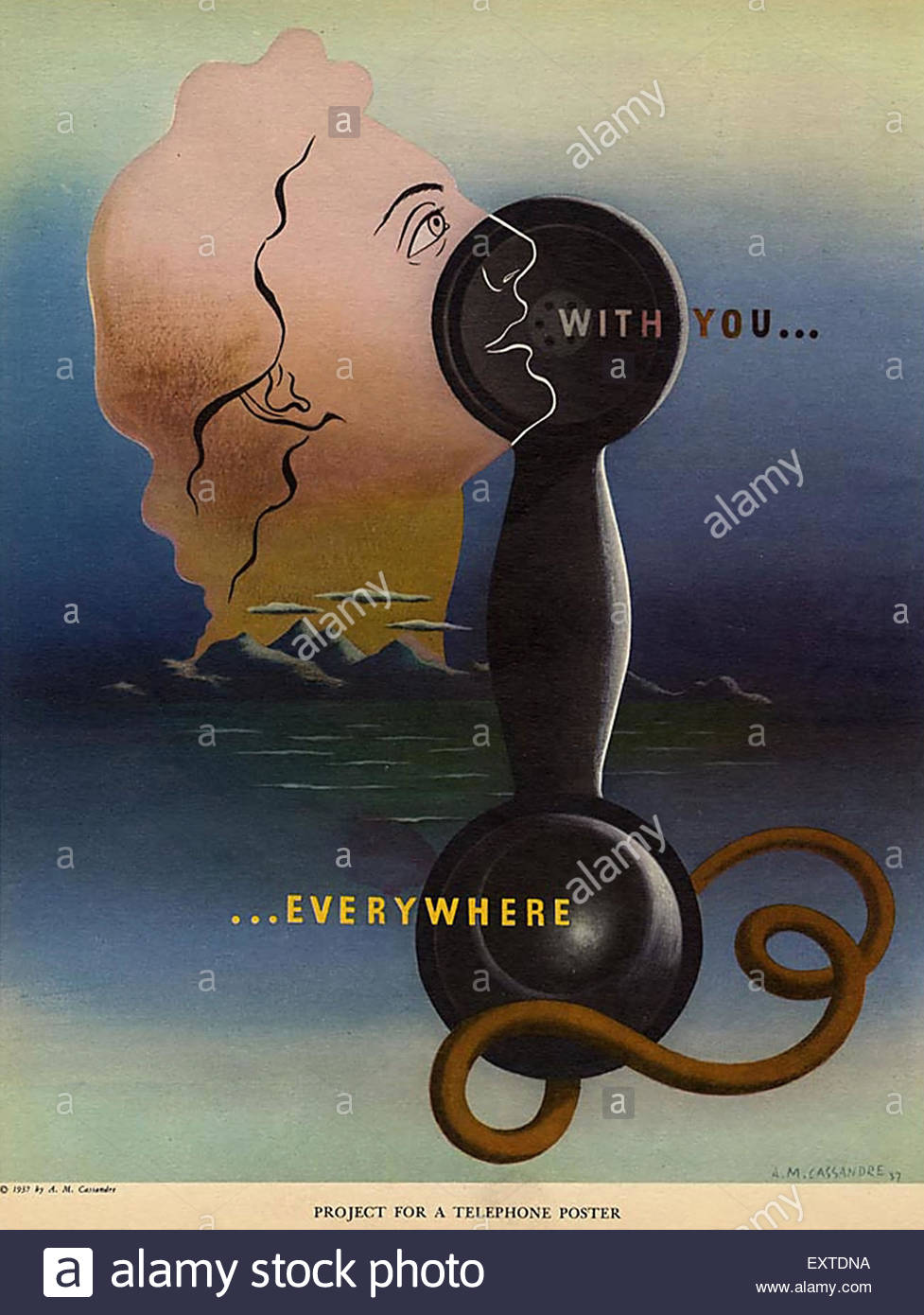 1930s USA Telephones Poster - Stock Image