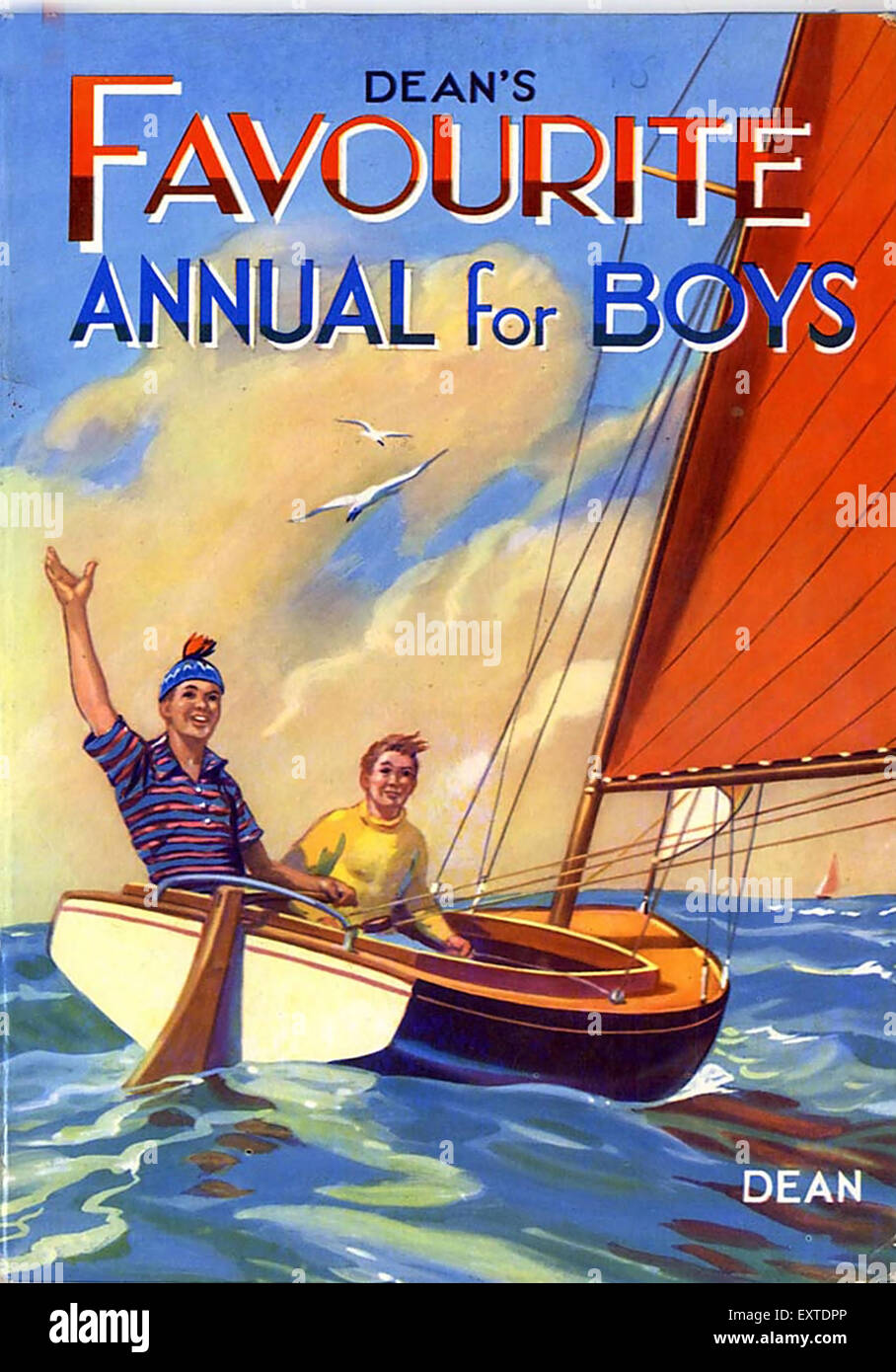 1950s UK Favourite Annual For Boys Comic/ Annual Cover - Stock Image
