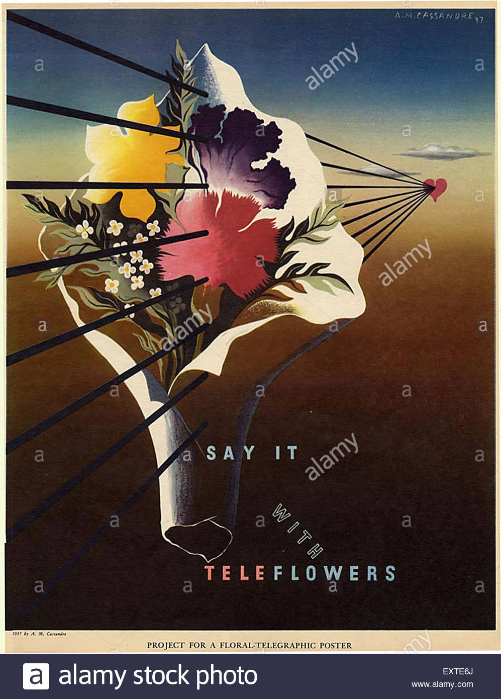 1930s USA Teleflowers Poster - Stock Image