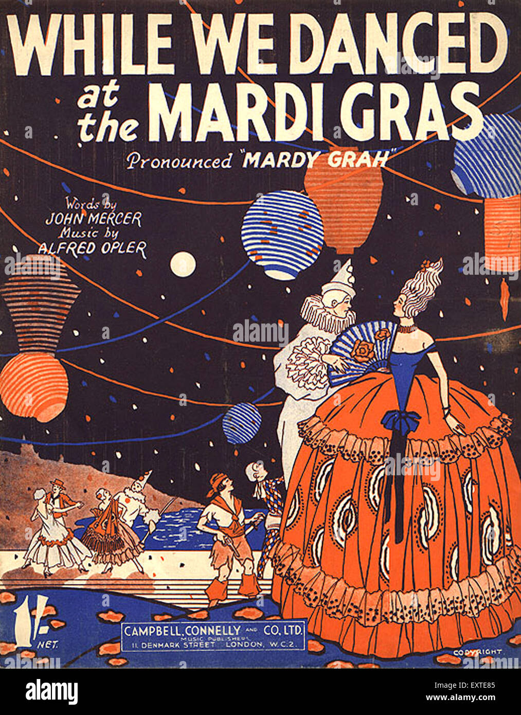 1930s UK While We Danced at the Mardi Gras Book Cover - Stock Image