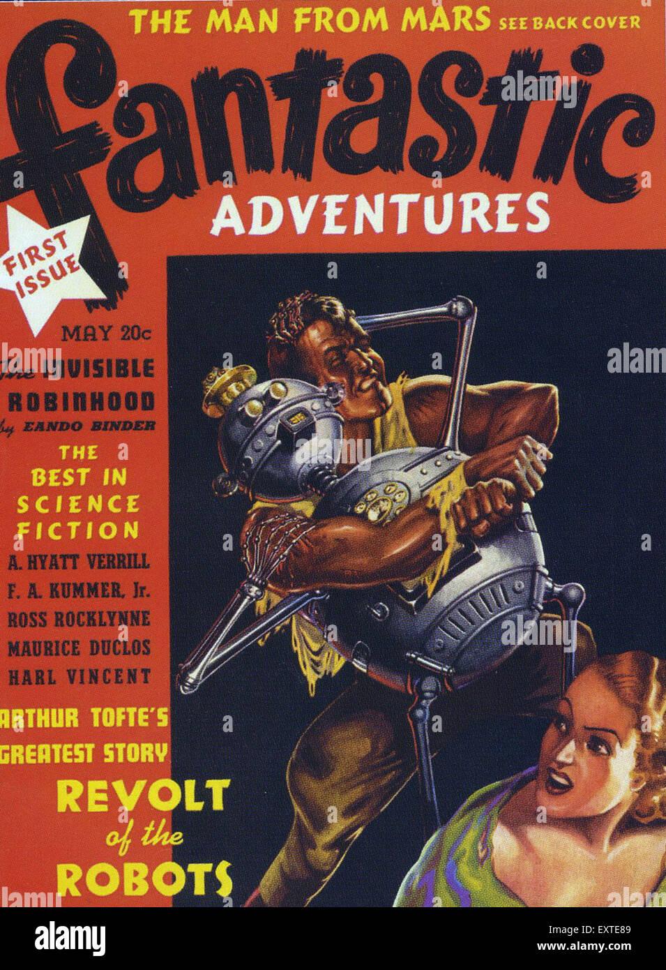 1930s USA Fantastic Adventures Magazine Cover - Stock Image