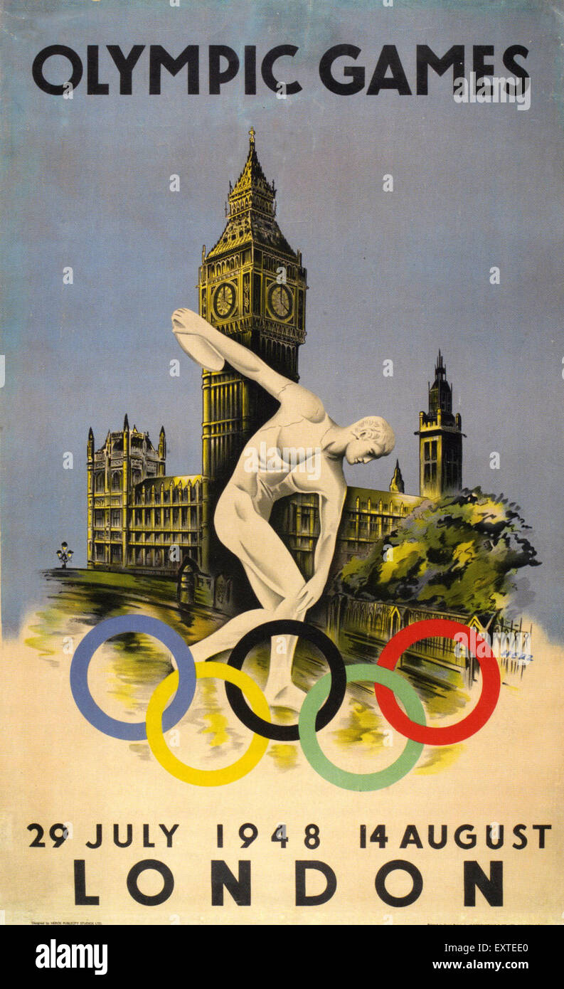 1940s UK Olympic Games Poster Stock Photo