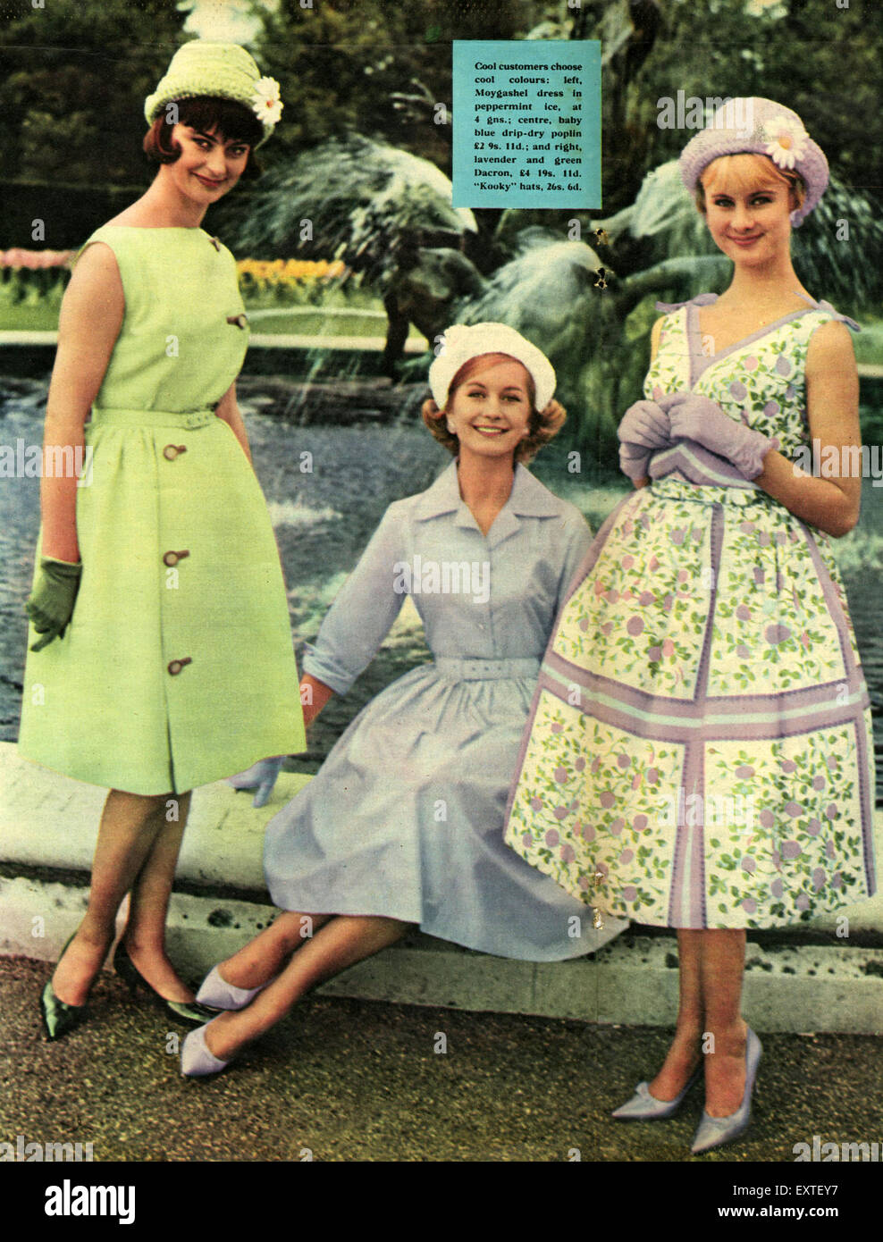 1960s UK Womens Fashion Magazine Plate Stock Photo