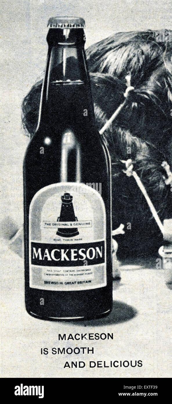 1960s UK Mackeson Magazine Advert (detail) - Stock Image