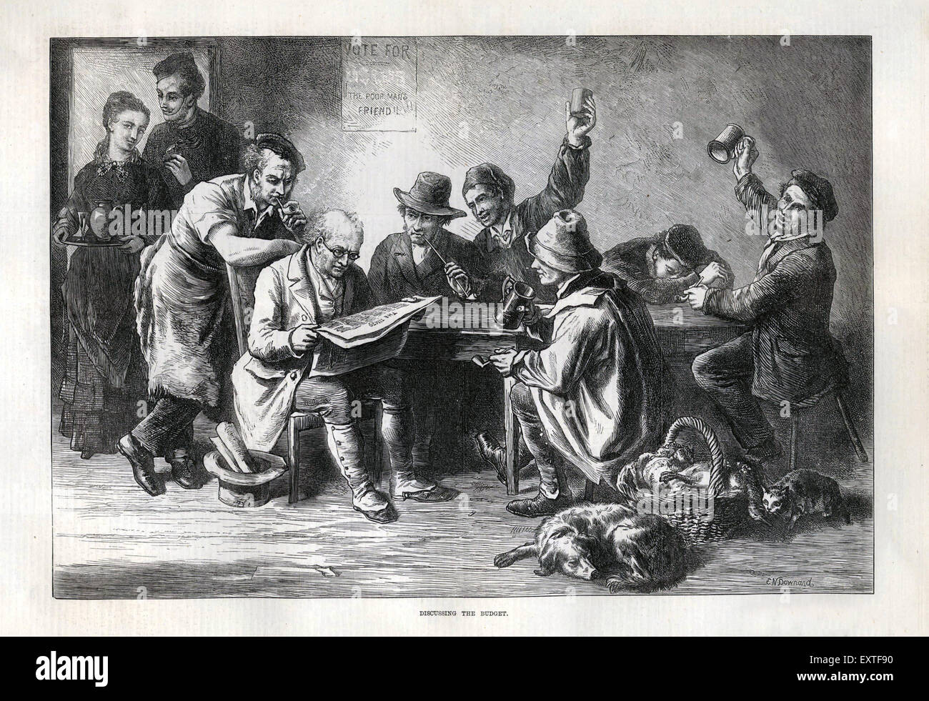 1870s UK reading newspapers pubs inns  NLI Magazine Plate - Stock Image