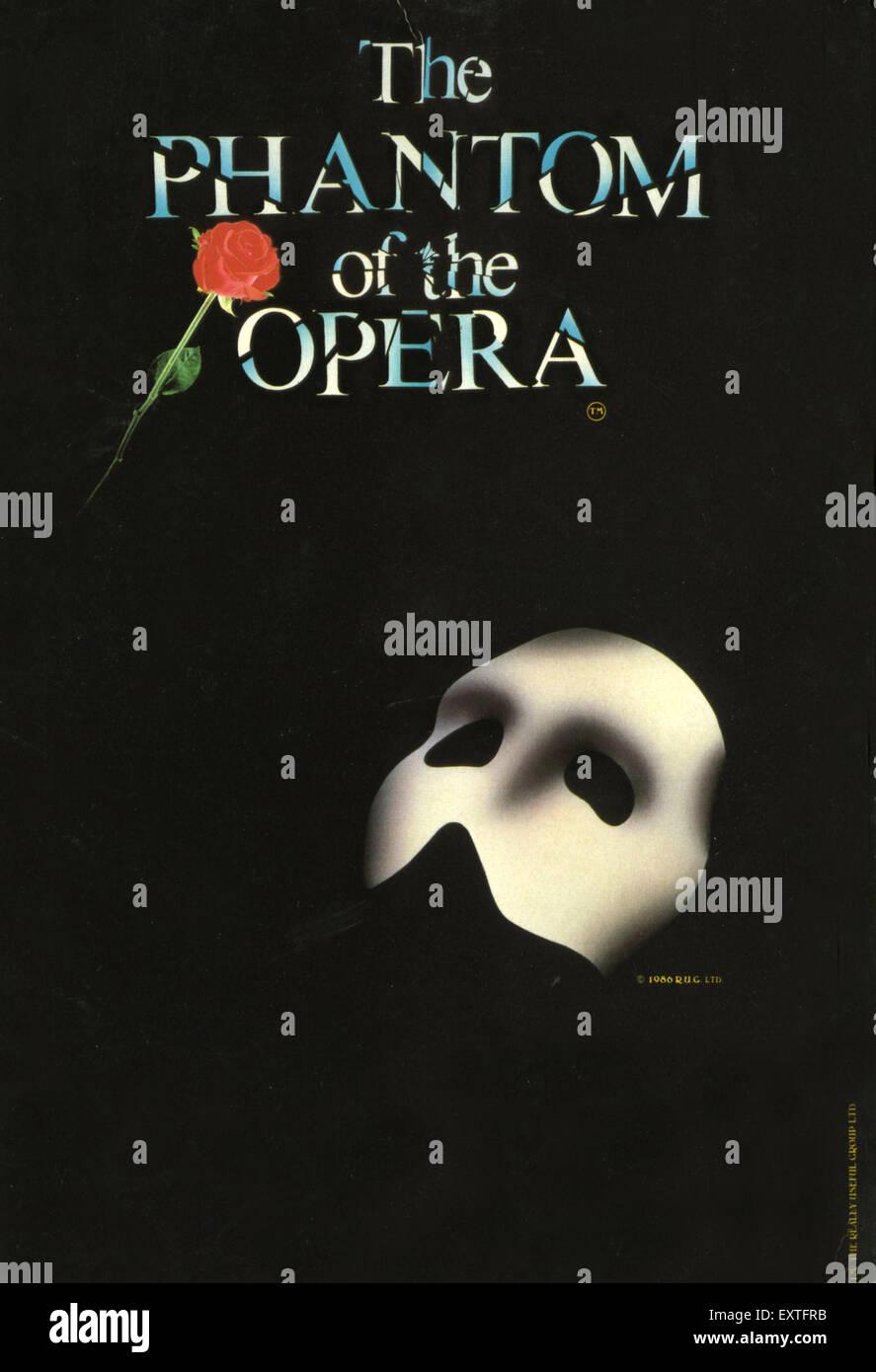 1980s UK Phantom of The Opera Poster - Stock Image