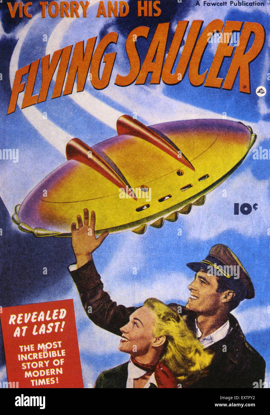 1950s USA Vic Torry and his Flying Saucer Magazine Cover - Stock Image