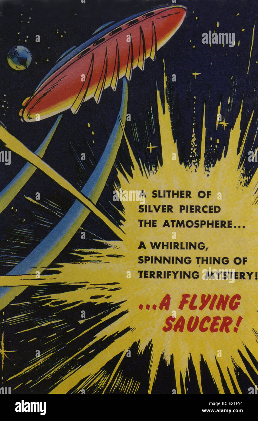 1950s USA Vic Torry and his Flying Saucer Book Cover - Stock Image