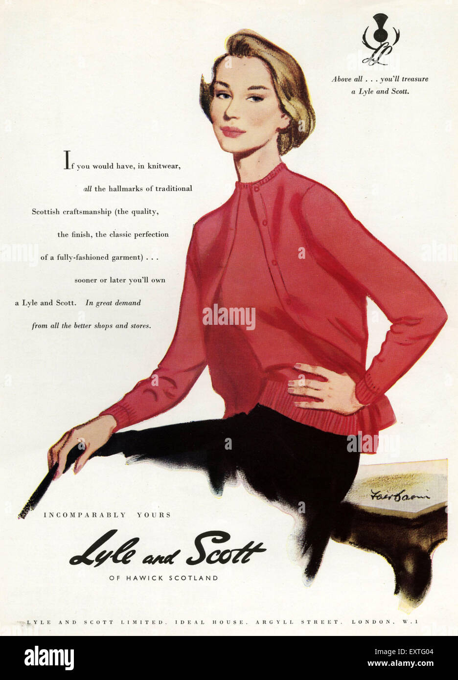 1950s UK Lyle and Scott Magazine Advert - Stock Image