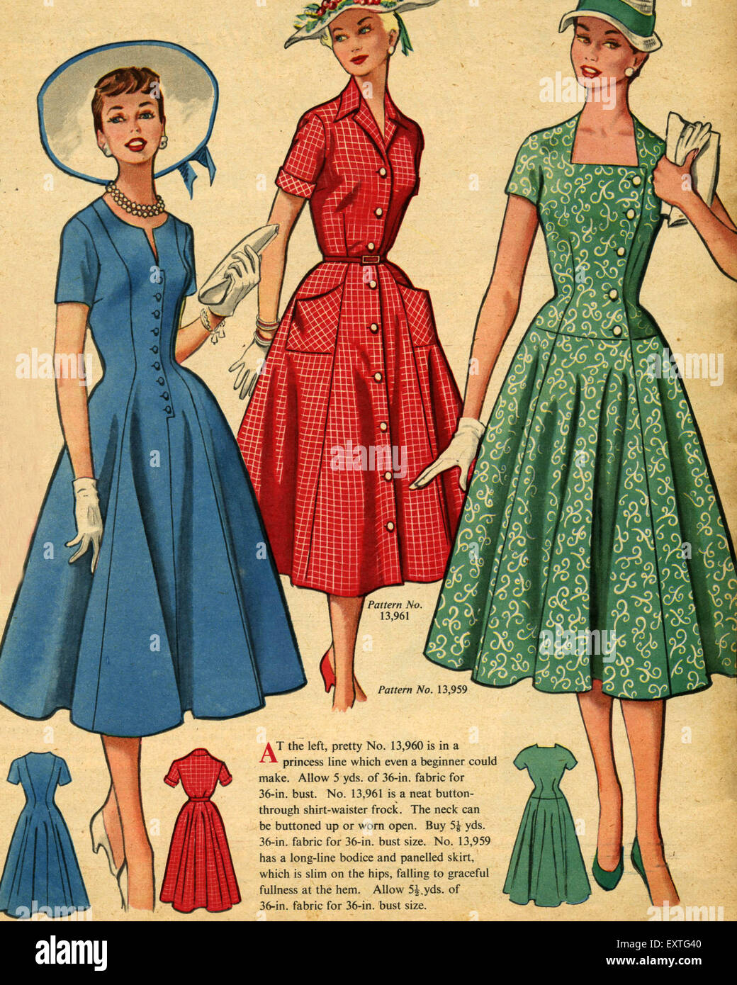 1950s Uk Fashion Magazine Plate Stock Photos & 1950s Uk ...