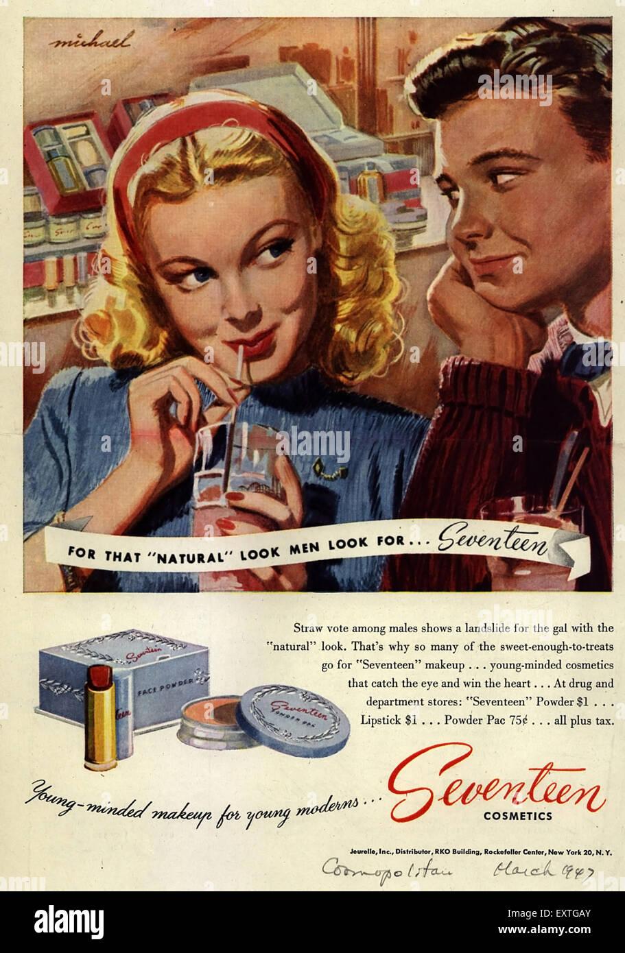 1940s USA Seventeen Magazine Advert - Stock Image