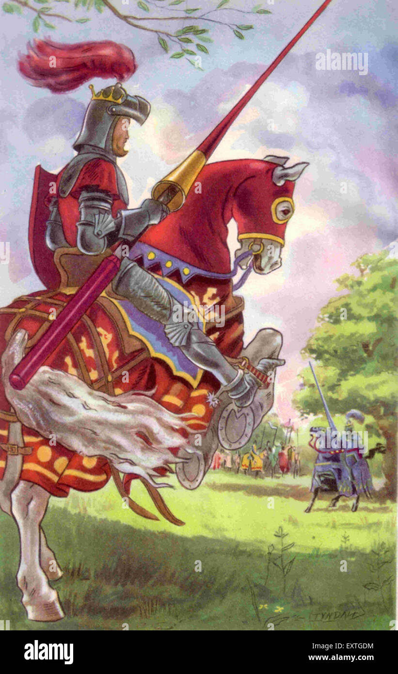1950s UK Knights Jousting Book Plate - Stock Image