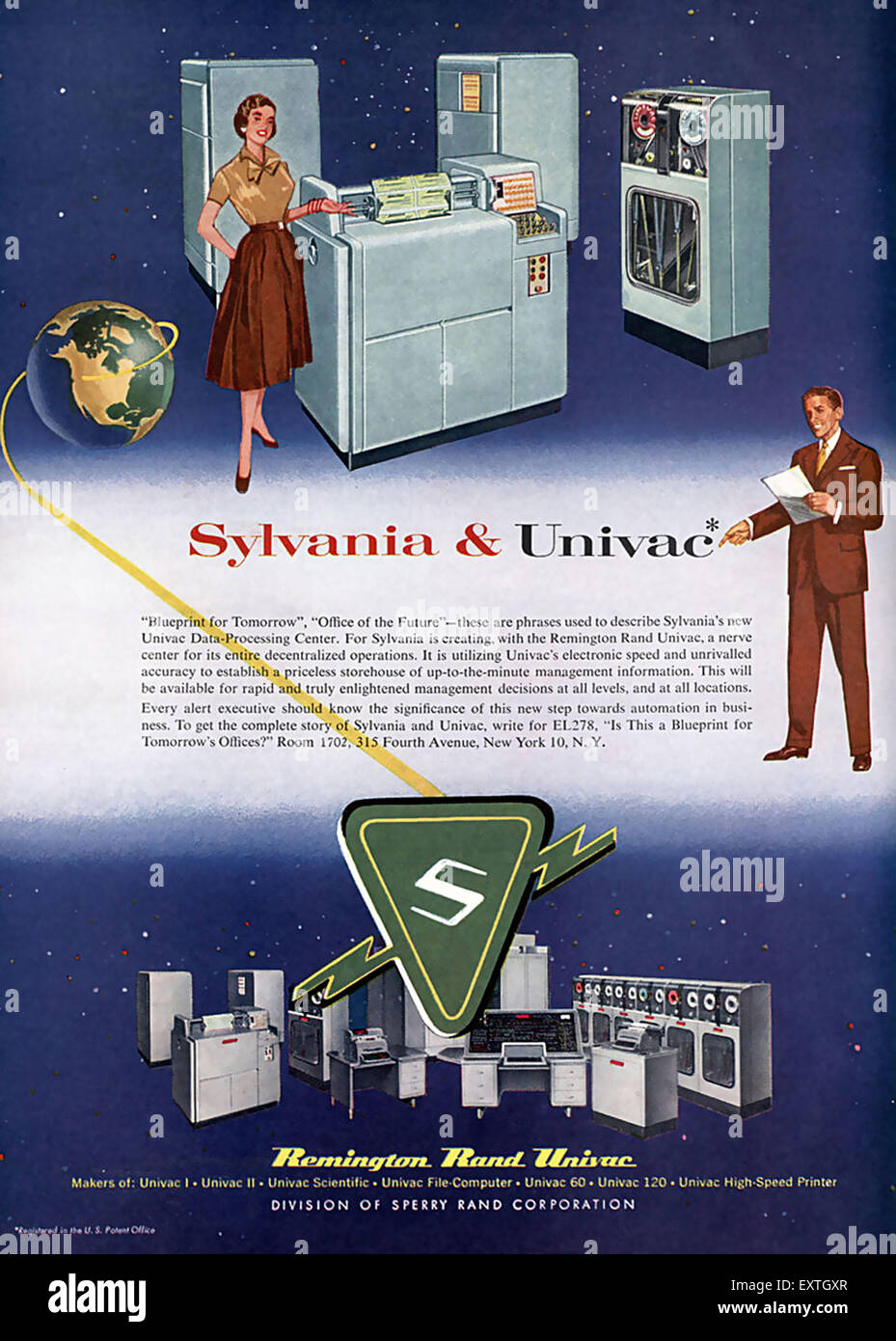1950s USA Remington Rand Magazine Advert - Stock Image