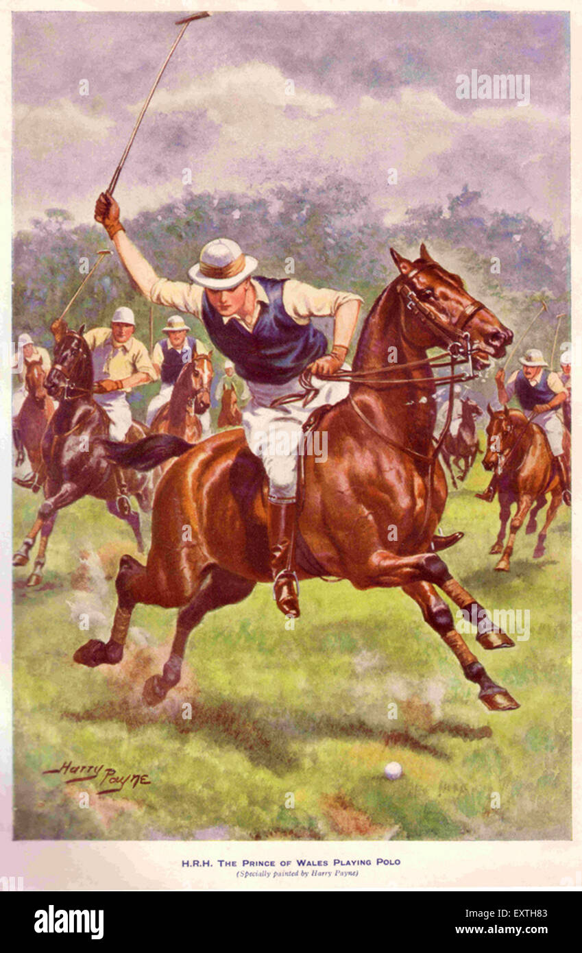 1930s UK Prince of Wales Playing Polo Book Plate - Stock Image