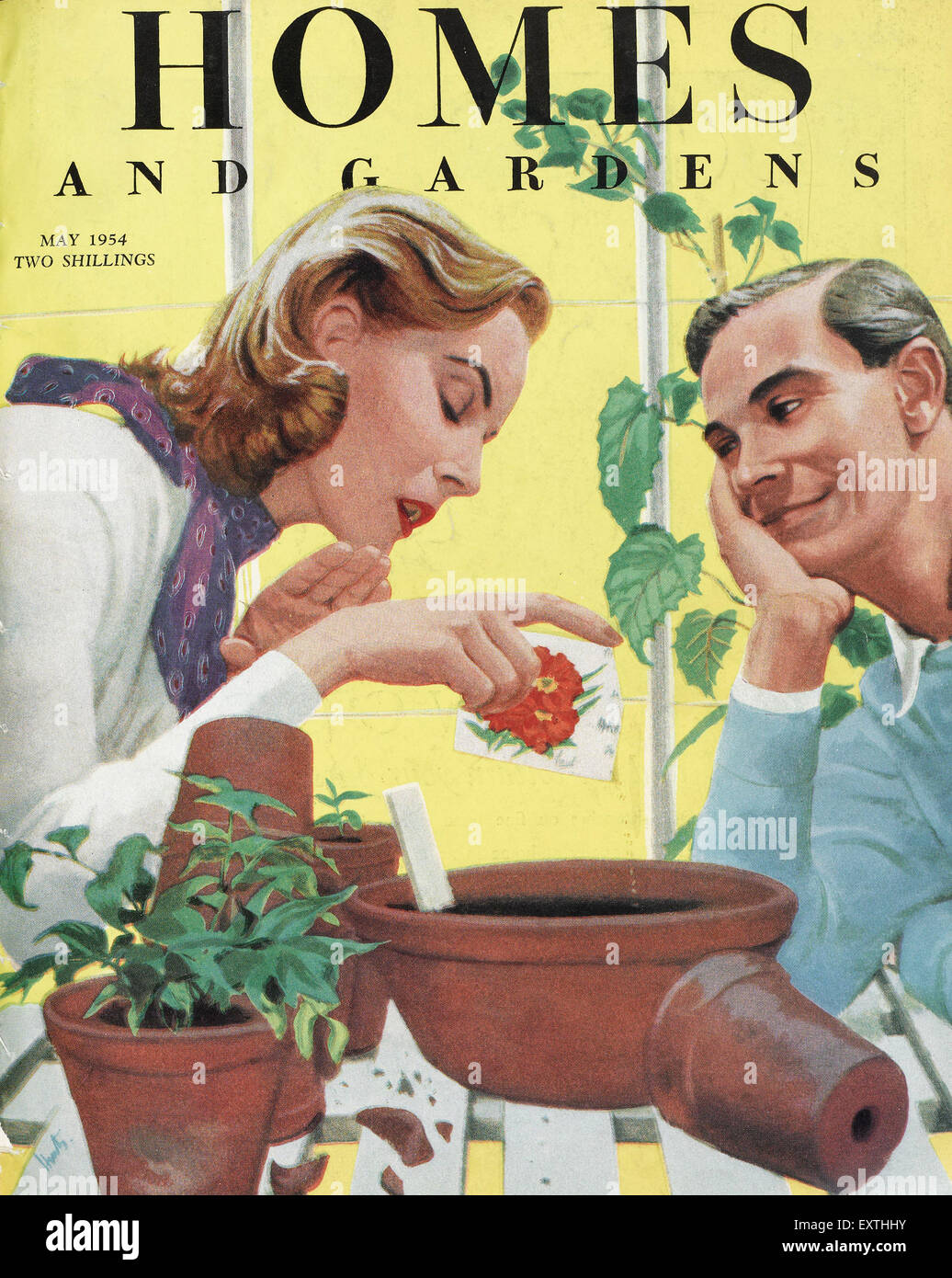 1950s UK Homes and Gardens Magazine Cover - Stock Image