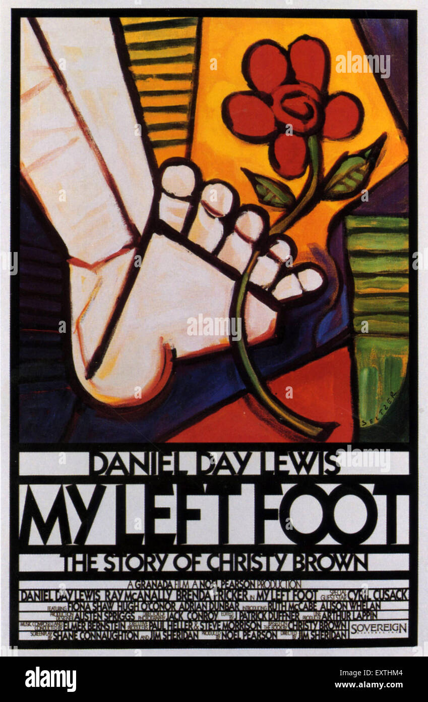 1980s USA My Left Foot Film Poster - Stock Image