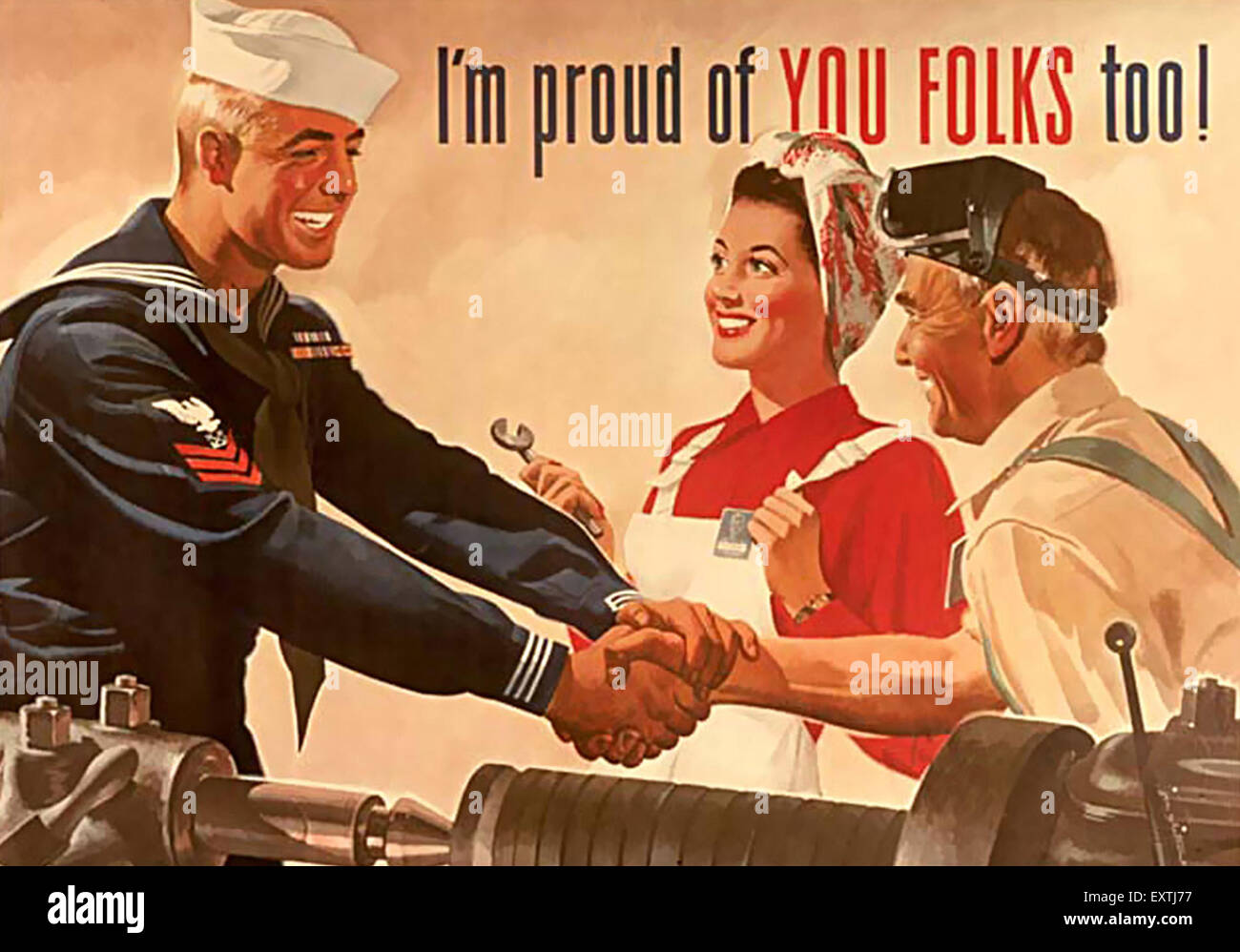 1940s USA World War Two Poster - Stock Image