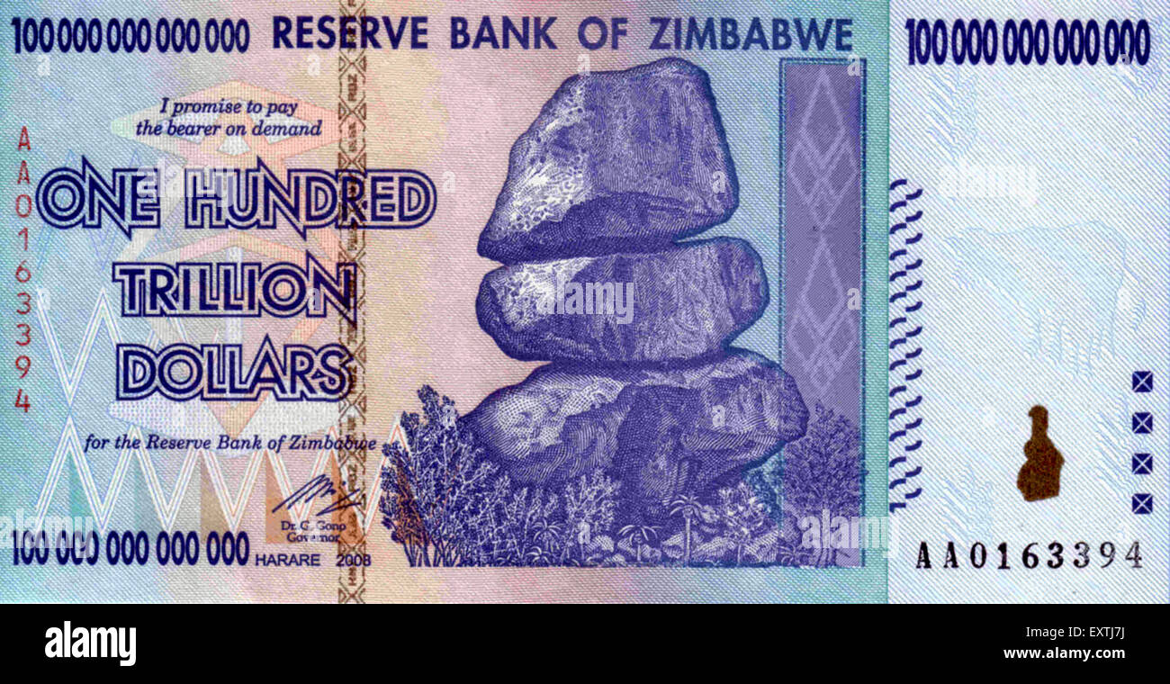 Zimbabwe One Hundred Trillion Dollars Magazine Plate - Stock Image