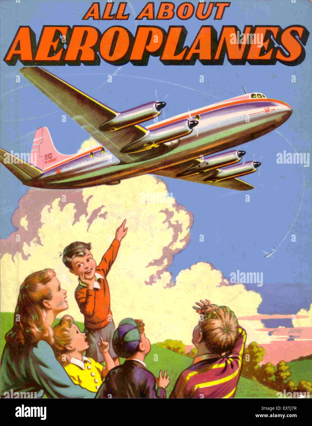 UK All About Aeroplanes Book Cover - Stock Image