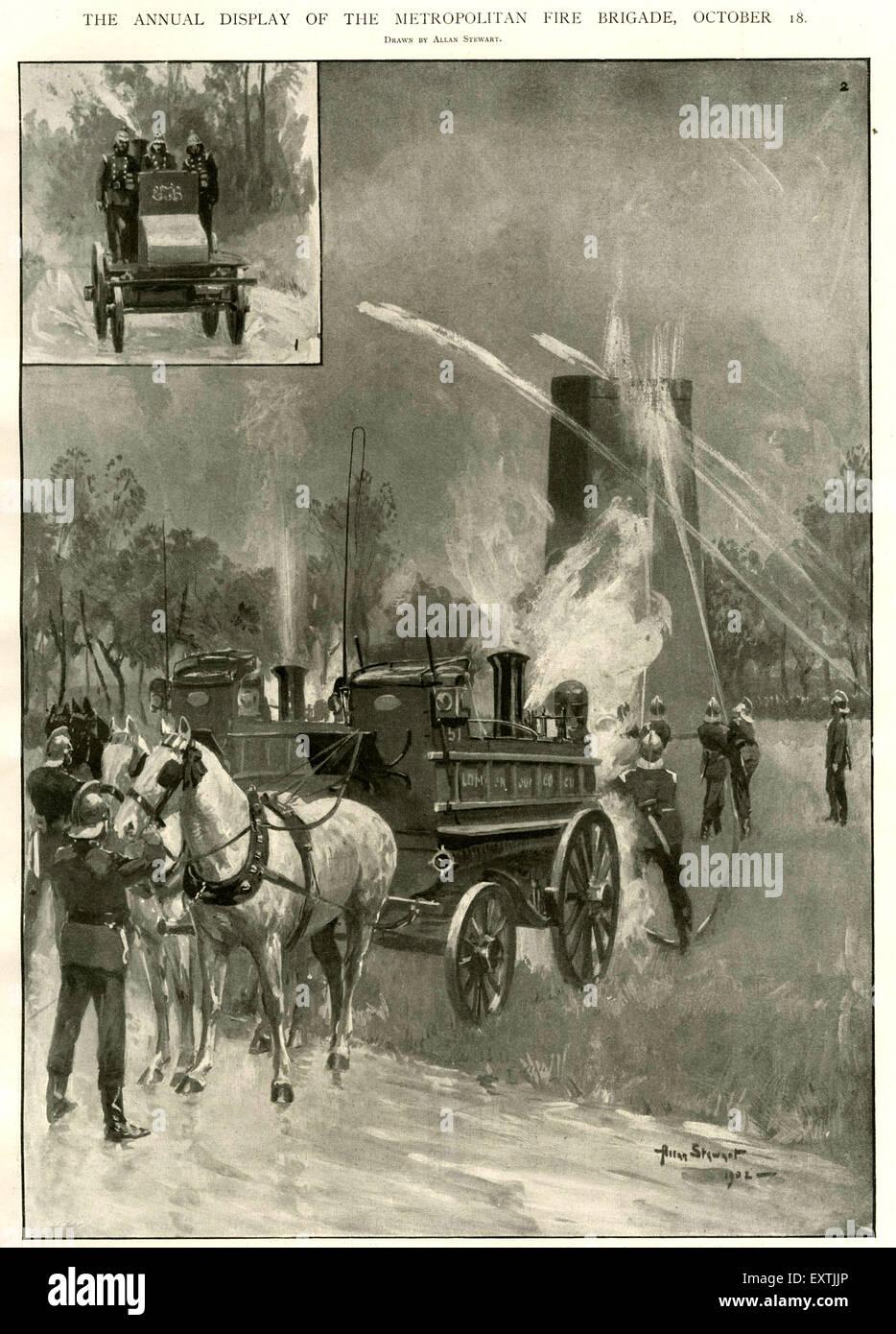 1900s UK Metropolitan Fire Brigade Magazine Plate - Stock Image